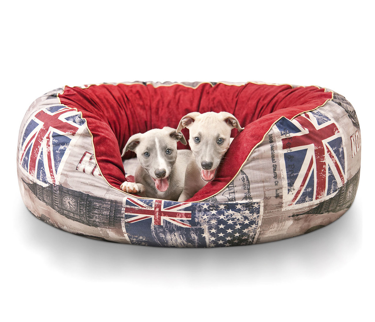 Hundebett Alidho aus Velours Union Jack